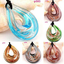 p588 Handmade Faashion Baroque Murano Art lampwork Glass Pendant Necklace Charms