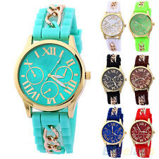 Men Women Nobby Golden Roman Numerals Silicone Alloy Strap Quartz Wrist Watch