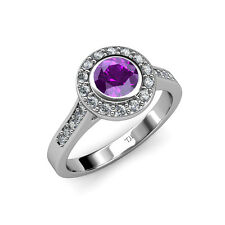 Amethyst & Diamond (VS2-SI1, F-G) Halo Engagement Ring 1.31 ct tw in 18K Gold
