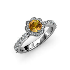 Citrine & Diamond (VS2-SI1, F-G) Floral Halo Engagement Ring 1.50 ct tw 18K Gold