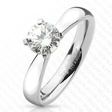 Gorgeous Titanium 1.0 Carat Solitaire CZ Engagement Ring Size 5-9