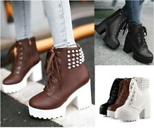 New Womens Chunky High Heel Platform Rivet Studded Motorcycle Gothic Ankle Boot
