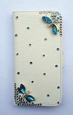 Bling Dragonfly PU leather wallet card holder flip cover case For Samsung 1
