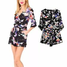 New Womens Ladies Sexy Black Floral Print 3/4 Sleeve Shorts Jumpsuits Rompers