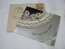 BEST NEW YEAR WISHES CARD 1930'S ART DECO VINTAGE    T*