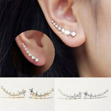 Elegant Womens 18K GP Silver Gold  Ear Hook Crystal Earrings Party Jewelry Gift