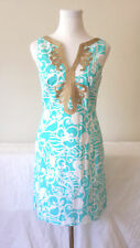 $198 Lilly Pulitzer JANICE SHIFT DRESS in Blue Printed gold soutache trim 4 6