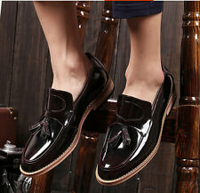 New Mens Dress Formal Loafer Tassel Brogue Oxford Casual Patent Leather Shoes