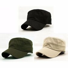New Classic Plain Vintage Army Military Cadet Gift Cotton Cap Hat Adjustable