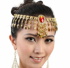 Belly Dance Costume Red Gem Headwear Bead Gold Coin Dancer Dancing Jewelry Yoga