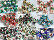 100 50 10pcs 8 10 12mm round Filigreed enamel cloisonne spacer loose beads