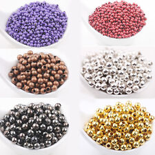Lots 20-200Pcs Silver Gold Plated Alloy Round Loose Spacer Beads Findings 3-8 mm