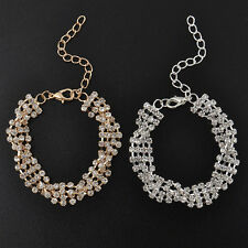 Gold/Silver Plated Woman Clear Crystal Weave Chain Simple Bracelet Charm Jewelry