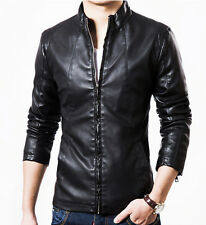New Men's fashion Short paragraph collar motorcycle leather jacket coat