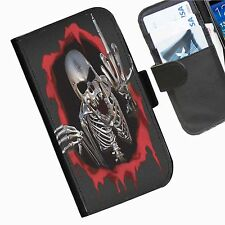 Skull Finger Leather wallet phone case for iPhone Samsung Huawei Blackberry HTC