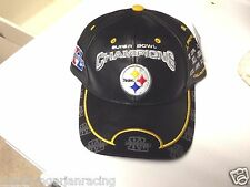 VINTAGE PITTSBURGH STEELERS LEATHER SUPERBOWL CHAMPIONS HAT CAP REEBOK NWT