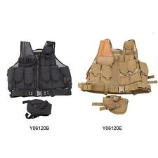 Outdoor Tactical Military Law Paintball Police Vest w/ Holster Mesh Waistcoat