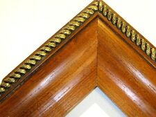 """4"""" Wide Solid Oak with Gold Rope Picture Frame-Custom Standard Size"""