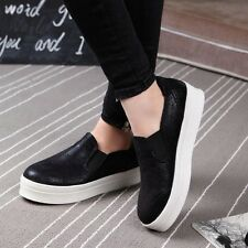 New Lady Trainer Sneaker Platform Slip On Creeper Hidden Wedge Flat Sport Shoes