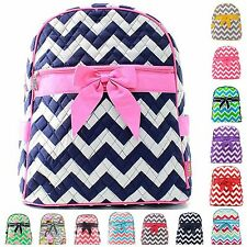 "Chevron 15"" Quilted Backpack Bookbag School Book Tote Bag Kids Girls"