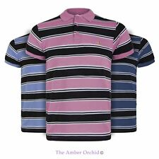 MENS COLLARED THICK CONTRAST STRIPE POLO T SHIRT SHORT SLEEVE SUMMER TOP S-XXL