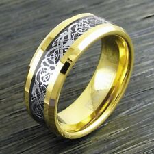8mm Gold Celtic Silver Dragon Tungsten Ring Men Jewelry Wedding Band