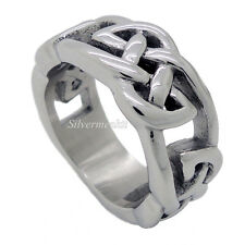 New Fashion Men's Silver Celtic Knot Stainless Steel Ring US Size 9 to 12