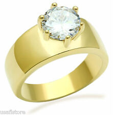 Round Cut  2.8ct CZ Syone Solitaire 18kt Gold EP Ladies Ring
