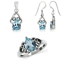 Genuine Blue Topaz 925 Sterling Silver Filigree Dangle Earrings, Pendant or Ring