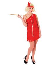 New Ladies Adult Red Fringe Flapper Jazz 20s 30s Fancy Dress Costume Charleston