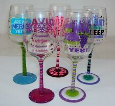 Novelty Wine Glass ~ Clever Sayings Hand Painted On Glass w/Rhinestones