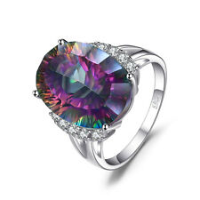 Natural Fire Rainbow Mystic Topaz Ring Solid 925 Sterling Silver New Gemstone
