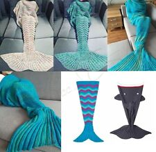 Adult Kids Mermaid Tail Crocheted Handmade Cocoon Beach Knit Rug Quilt Blanket