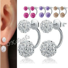 New Women Fashion Jewelry 925 Sterling Silver Double Beads Crystal Stud Earrings