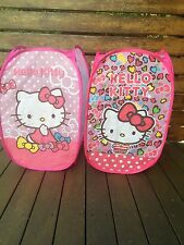 Foldable Pop up Hello Kitty pink Laundry Wash Hamper Bag Basket Mesh Storage Bin