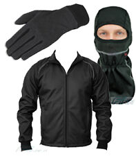 Combo Pack Mens Windproof Thermal Motorcycle Jacket Balaclava Gloves - S to 6XL