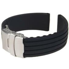 Black Silicone Rubber Diver Watch Strap Band Deployment Buckle Parts 18mm-24mm