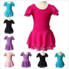New Girls Gymnastics Dance Dress Kids Ballet Tutu Leotard Chiffon Skirt 3-13 Y
