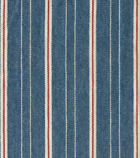"Woven Navy, Red, and  White Striped Denim Fabric Piece 23""x28"" NEW!!"