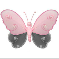Butterfly Decoration Gray Pink Nylon Hanging Girls Room Baby Nursery Shower Grey