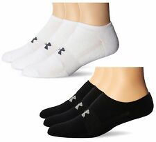 Under Armour U249 UA Men's HeatGear 3 Pack Pairs So Lo No Show Socks White Black