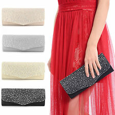 Diamante Satin Party Prom Clutch Wedding Bridal Evening Handbag Women Bag Purse