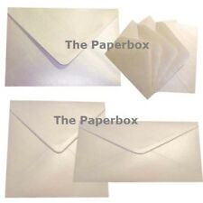 Ivory White Pearlescent Shimmer Envelopes - choice of size & quantity