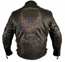 Xelement Mens Brown Buffalo Distressed Leather Motorcycle Jacket (M-5XL)