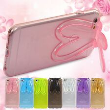 Cute Lovely Rabbit Stand Ears Holder Crystal Soft TPU Case For Phone +Neck Strap
