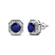 Blue Sapphire and Diamond (SI2-I1,G-H) Halo Stud Earrings 2.85 ct tw in 14K Gold