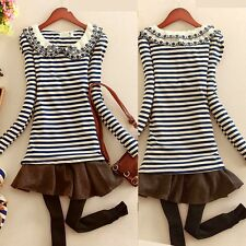 Double Layered Peter Pan Collar Embroidery Striped Womens Shirt Blouse Tops Cute