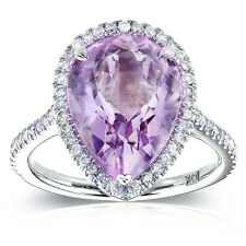 Pear-Shape Lavender Amethyst and Diamond Engagement Ring 4 5/8 Carat (ctw) in 10