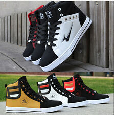 New Fashion Mens Round Toe High Top Sneakers Casual Lace Up Skateboard Shoes