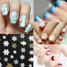 Snowflakes Snowman 3D Nail Art Stickers Decals Girls Fingernail Accessories